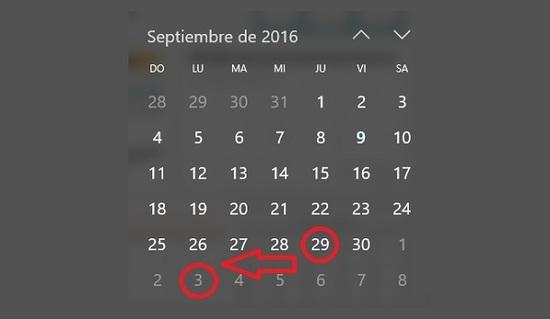 Feriado de septiembre pasa para octubre