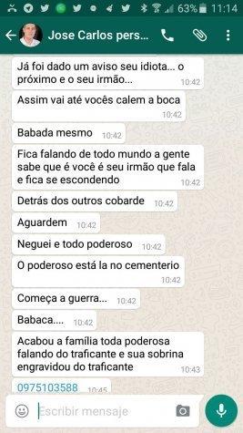 Acevedo recibió amenazas vía WhatsApp