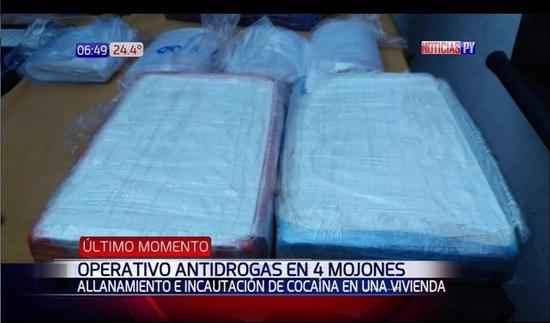 Senad incauta 4.330 gramos de cocaína