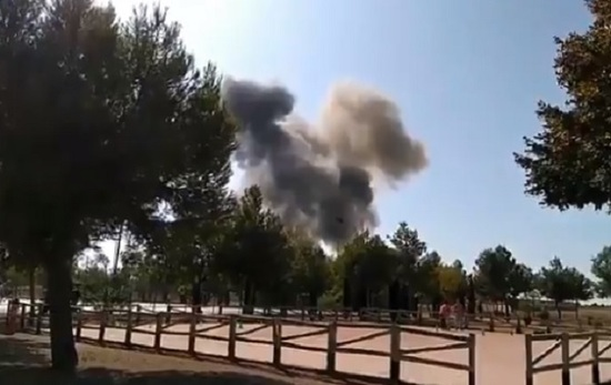 Avión militar se estrella en España tras desfile patrio