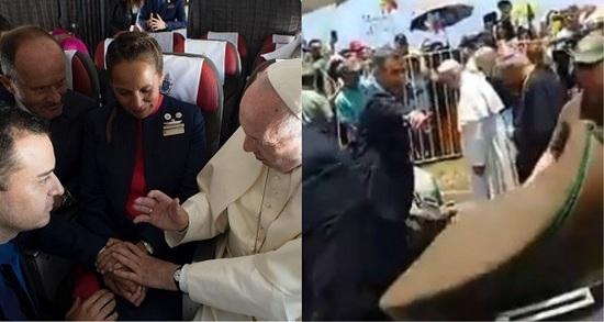 Papa Francisco ayuda a mujer policía que cayó de su caballo