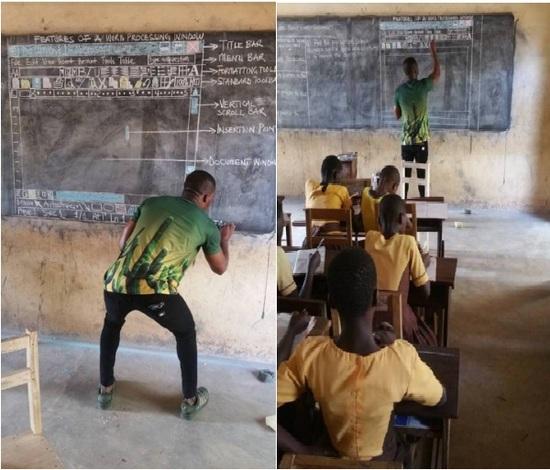 Docente enseña Word con una pizzarra en Ghana