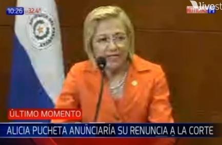 Corte acepta renuncia de Alicia Pucheta