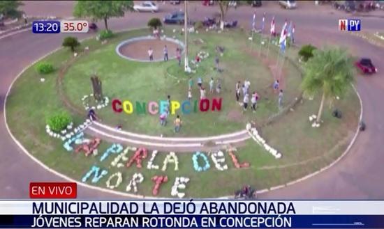 Resultado de imagen para en Concepción embellecen la rotonda py